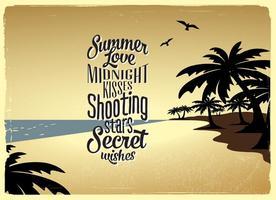Vetor de praia de verão romântico
