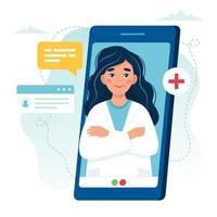 médica na tela do smartphone para consulta online vetor