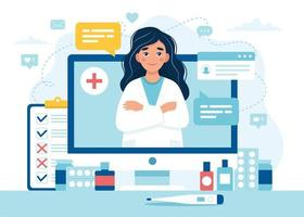 médica na tela do computador para consulta online