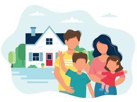 familia com filhos e uma casa fofa vetor