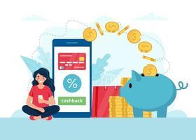 mulher com smartphone e dinheiro indo no cofrinho