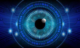 fundo de tecnologia do futuro circuito cibernético olho azul vetor