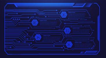 placa de circuito binário tecnologia futura azul hud