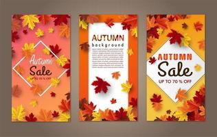 conjunto de banner de folha de bordo de outono vetor