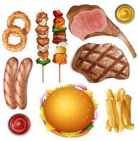 conjunto de diferentes comidas de churrasco vetor