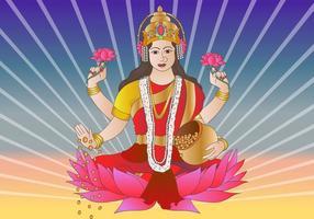 Deusa Hindu Lakshmi Bhagwati vetor