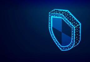 escudo isométrico, segurança, conceito de privacidade