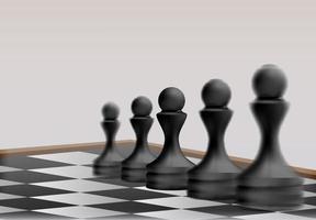 peças de peão de xadrez no conceito de estratégia de negócios de tabuleiro de xadrez vetor