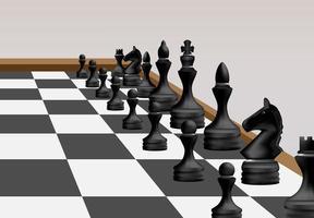 batalha de competição de xadrez preto por equipe vetor