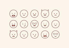 Conjunto bonito de Emoticons de vetor