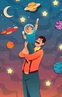 um pai apoiando seu filho e seu futuro vetor