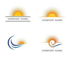 conjunto de símbolos do sol de verão vetor