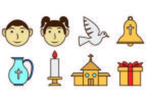 Conjunto de ícones de Bautizo vetor