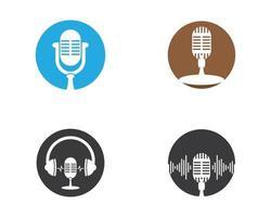 conjunto de símbolos de microfone vetor