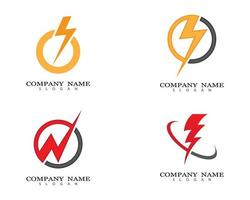 conjunto de logotipo thunderbolt vetor