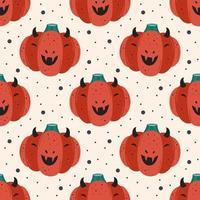 abóbora vermelha assustadora em fantasia de diabo. feliz dia das bruxas sem costura padrão, textura.
