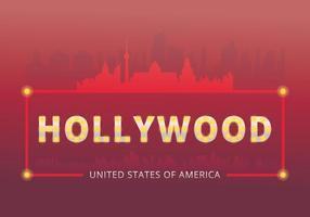 Modelo e marco de sinal de luzes de Hollywood vetor