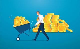 empresário empurrando carrinho cheio de moedas de ouro vetor