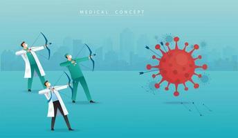 médico com arco mirando no coronavírus vetor