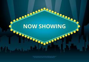 Molde de sinal de filme de Hollywood Lights e Cityscape vetor
