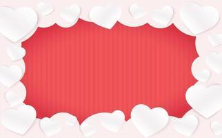 moldura de corações em nuvem em fundo vermelho listrado