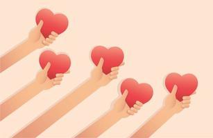 mãos segurando corações com desenho de dia dos namorados vetor