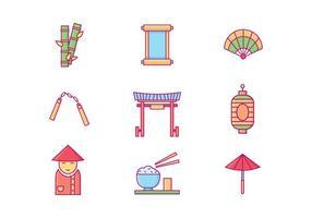 Ícones gratuitos da cultura chinesa vetor