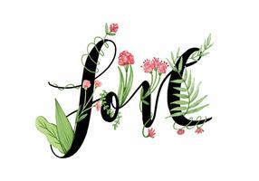 Flores de amor desenhadas à mão vetor