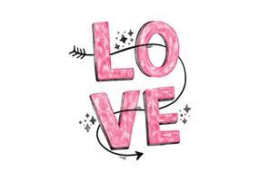 Letra de amor rosa vetor