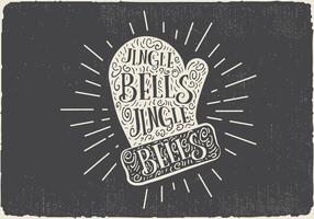 Luva de Natal desenhada mão Vintage Vintage com rotulação vetor