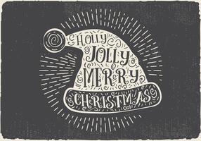 Chapéu desenhado mão do Natal do vintage livre com rotulação vetor