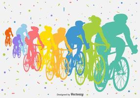 Silhuetas de vetores de competição de bicicleta