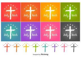 Ícones do vetor da semana santa