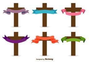 Ícones do vetor cruzado católico
