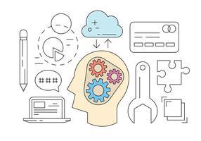 Ícones de brainstorming gratuitos vetor