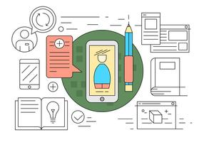 Ícones de aprendizagem on-line vetor