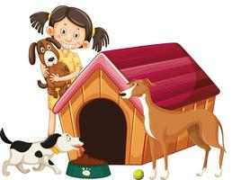 crianças com cães em fundo isolado vetor