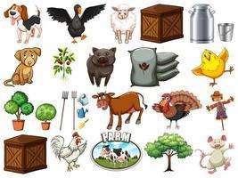 conjunto de elementos agrícolas vetor