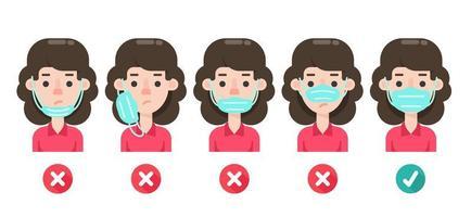 diagrama com o uso incorreto de máscaras faciais