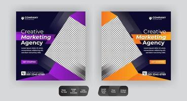 conjunto moderno de modelo de banner de mídia social editável vetor
