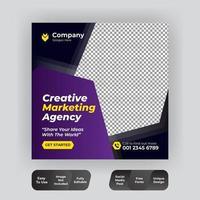 modelo de postagem de mídia social violeta de marketing corporativo