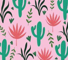 folhas tropicais cacto planta folhagem fundo rosa exótico vetor