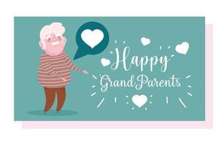 cartão do feliz dia dos avós vetor