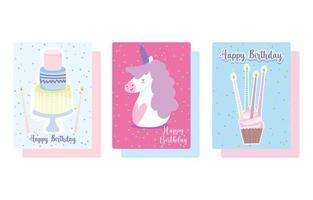 conjunto de cartão de bolo e cupcake de unicórnio vetor
