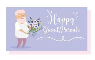 feliz dia dos avós vetor