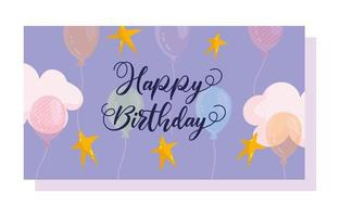 Balões de cor brilhante transparente desenhados à mão letras celebração