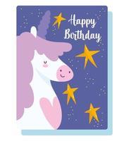 cartão de feliz aniversário com estrelas de unicórnio vetor