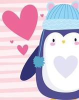 animal pássaro pinguim com chapéu quente azul