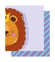 pequena cabeça de leão com coroa vetor