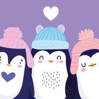 pinguins adoráveis com chapéus de pom pom